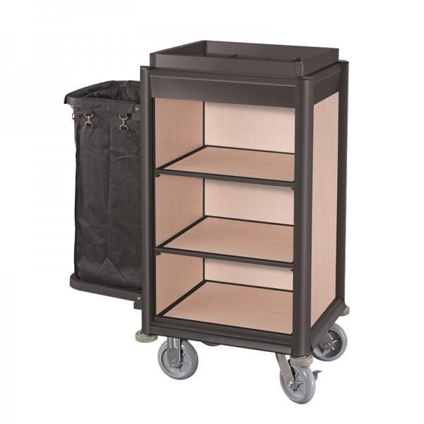 Zimmermädchenwagen - Serie Isabella - Aluminium - helle Holzoptik - 1 Sack - premium Qualität - 4456 001