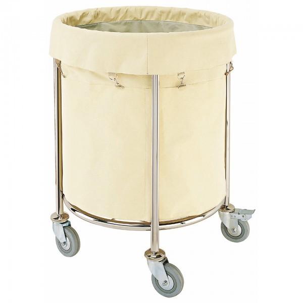 Wäschesammelwagen - Chromnickelstahl - rund - Stoff-Wäschesack - premium Qualität