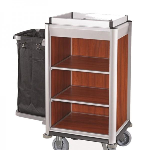Wäschesammelwagen - Serie Isabella - Aluminium - dunkle Holzoptik - 1 Sack - premium Qualität - 4455 001