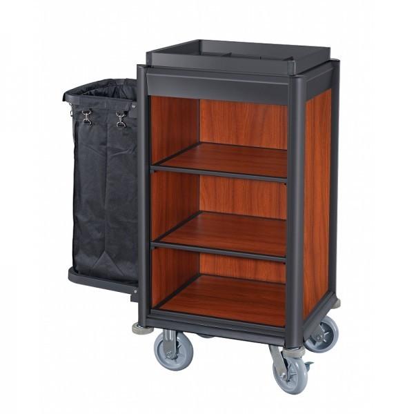 Wäschewagen - Serie Isabella - Aluminium - dunkle Holzoptik - 1 Sack - premium Qualität - 4459 001